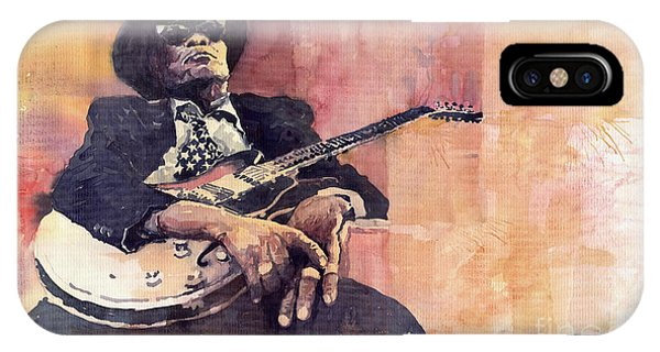 Guitar Legends iPhone Case - Jazz John Lee Hooker by Yuriy Shevchuk