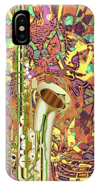 IPhone Case featuring the digital art Jazz Me Up by Eleni Mac Synodinos