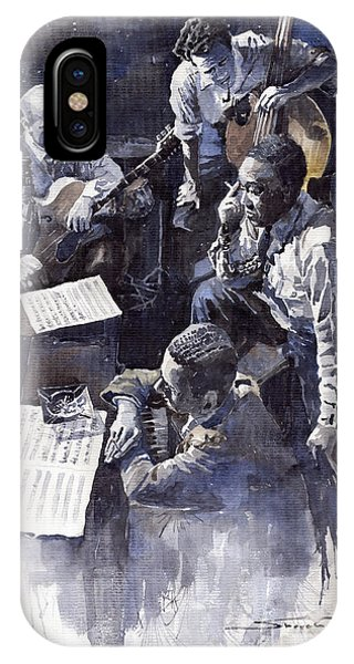 Watercolour iPhone Case - Jazz Parker Tristano Bauer Safransky Rca Studio Ny 1949 by Yuriy Shevchuk