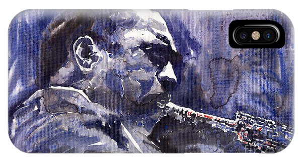 Saxophone iPhone Case - Jazz Saxophonist John Coltrane 01 by Yuriy Shevchuk