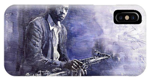 Figurative iPhone Case - Jazz Saxophonist John Coltrane 03 by Yuriy Shevchuk