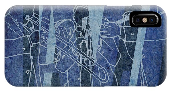 July 4 iPhone Case - Jazz Trio 33 - Blue by Drawspots Illustrations