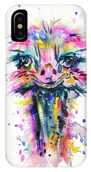 IPhone Case featuring the painting Jazzzy Ostrich by Zaira Dzhaubaeva