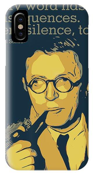 Nobel iPhone Case - Jean Paul Sartre by Greatom London