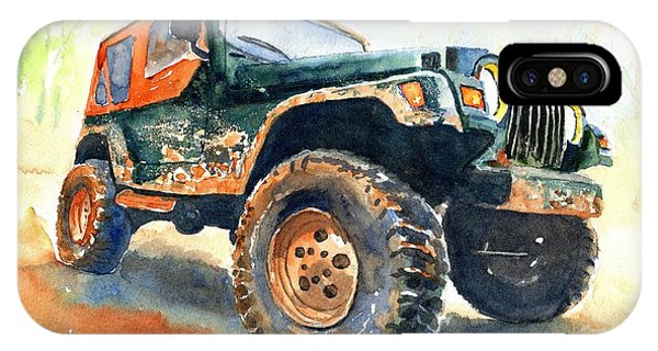 Car iPhone X Case - Jeep Wrangler Watercolor by Carlin Blahnik CarlinArtWatercolor