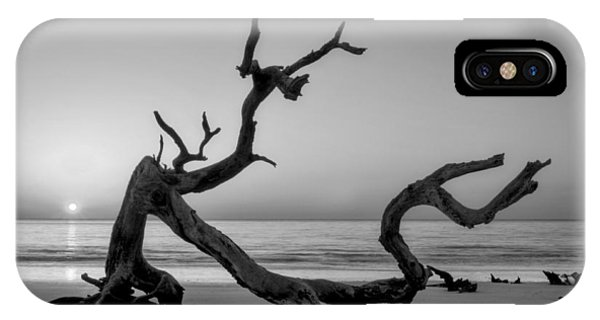 Jekyll Island Driftwood In Black And White IPhone Case