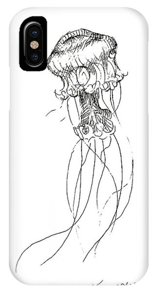 Pacific Ocean iPhone Case - Jellyfish Sketch - Black And White Nautical Theme Decor by Karen Whitworth