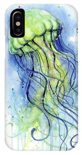 Sea Life iPhone Case - Jellyfish Watercolor by Olga Shvartsur