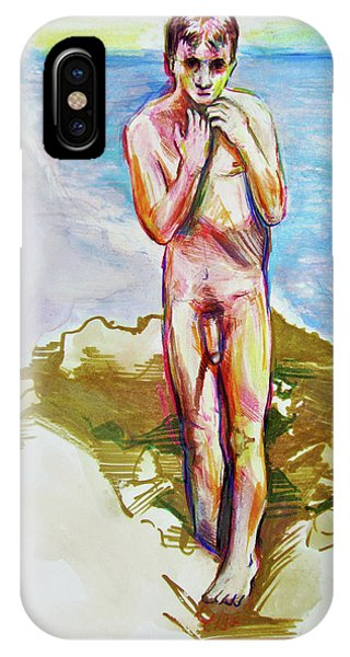 IPhone Case featuring the painting Jeremy At The Beach by Rene Capone