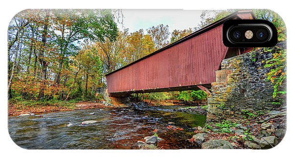 Jericho Covered Bridge In Maryland During Autumn IPhone Case