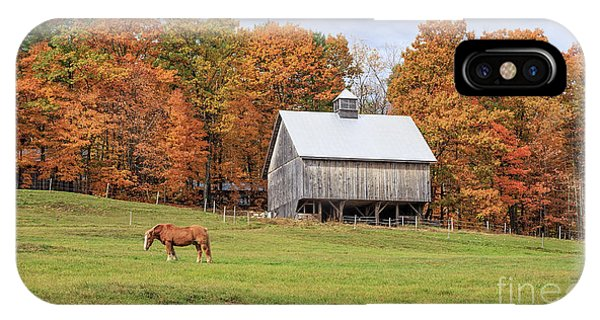New England Barn iPhone Case - Jericho Hill Vermont Horse Barn Fall Foliage by Edward Fielding