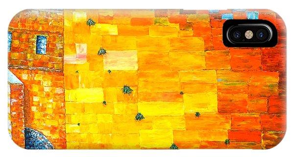 Jerusalem Wailing Wall Original Acrylic Palette Knife Painting IPhone Case