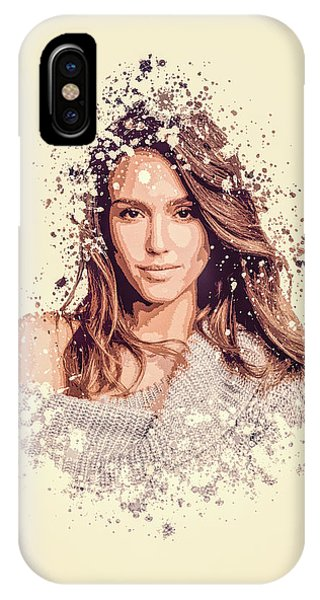 Jessica Alba iPhone Case - Jessica Alba Splatter Painting by MP Art