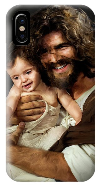 Laughing Jesus iPhone Case - Jesus And Baby 1 by Deb Minnard