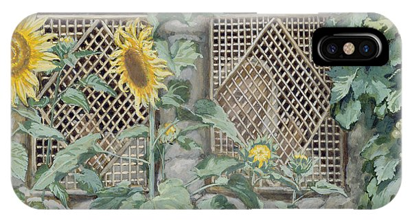Life Of Christ iPhone Case - Jesus Looking Through A Lattice With Sunflowers by Tissot