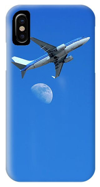 Jet Plane Flying Over The Moon IPhone Case