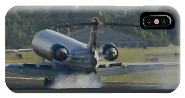 Jet Plane Landing On Runway With Tires Smoking IPhone Case