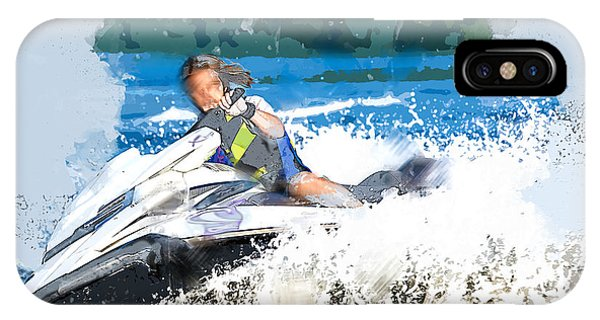 Jet Ski iPhone Case - Jet Skiing In The Lake by Elaine Plesser