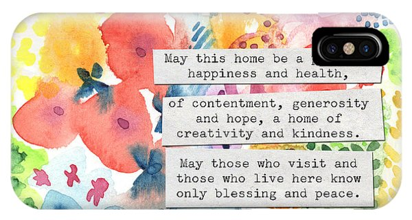 Jewish Home Blessing- Floral Watercolor IPhone Case