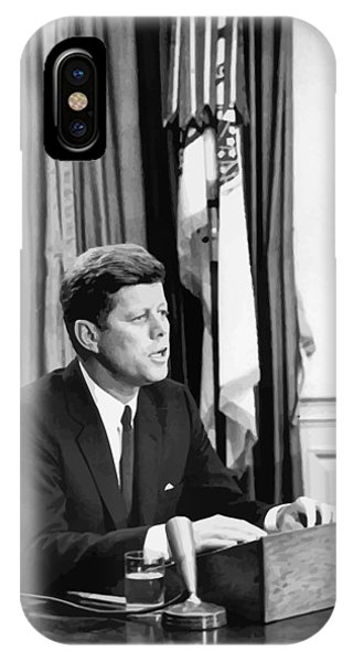 Leader iPhone Case - Jfk Addresses The Nation Painting by War Is Hell Store