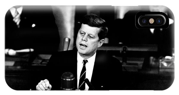 Leader iPhone Case - Jfk Announces Moon Landing Mission by War Is Hell Store