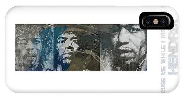 Guitar Legends iPhone Case - Jimi Hendrix Triptych by Paul Lovering