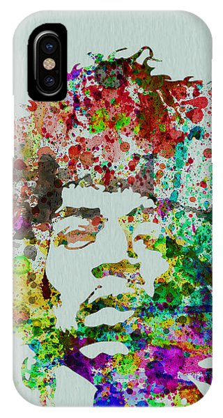 Rock And Roll iPhone Case - Jimmy Hendrix Watercolor by Naxart Studio