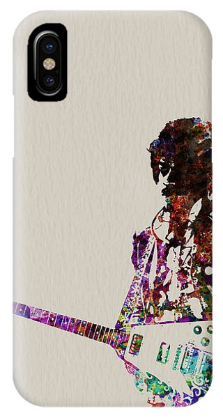 Rock And Roll iPhone X / XS Case - Jimmy Hendrix With Guitar by Naxart Studio