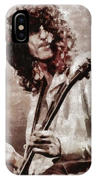 Rock And Roll Jimmy Page iPhone Case - Jimmy Page By Mary Bassett by Mary Bassett