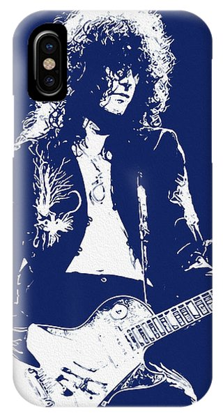 Rock And Roll Jimmy Page iPhone Case - Jimmy Page In Blue Portrait by Andrea Mazzocchetti