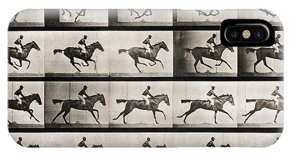 White Horse iPhone Case - Jockey On A Galloping Horse by Eadweard Muybridge