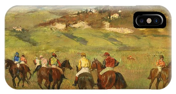 Horseman iPhone Case - Jockeys On Horseback Before Distant Hills by Edgar Degas
