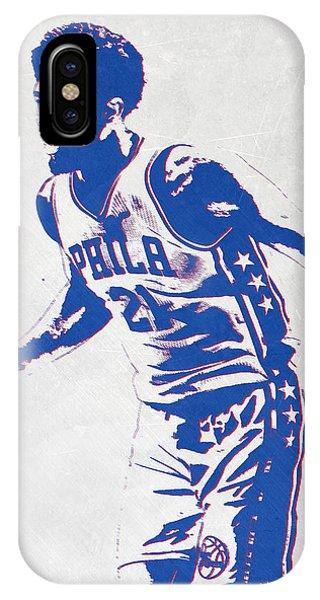 Ball iPhone Case - Joel Embiid Philadelphia Sixers Pixel Art by Joe Hamilton