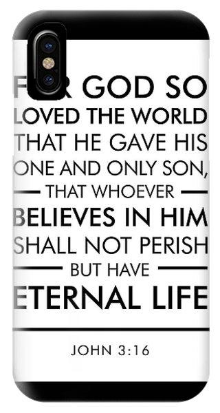 John 3-16 - Spiritual Wall Art - Bible Verses Art IPhone Case