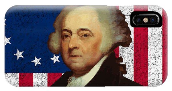 July 4th iPhone Case - John Adams And The American Flag by War Is Hell Store