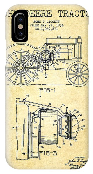 Patent Drawing iPhone Case - John Deere Tractor Patent Drawing From 1934 - Vintage by Aged Pixel