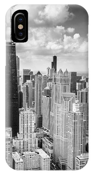 Chicago iPhone Case - John Hancock Building In The Gold Coast Black And White by Adam Romanowicz