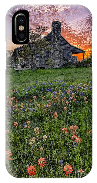 John P Coles Cabin And Spring Wildflowers At Independence - Old Baylor Park Brenham Texas IPhone Case