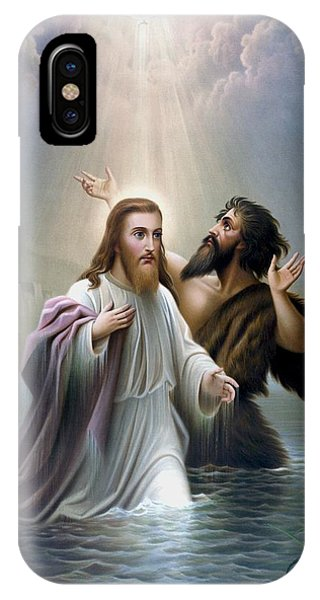 Christianity iPhone Case - John The Baptist Baptizes Jesus Christ by War Is Hell Store