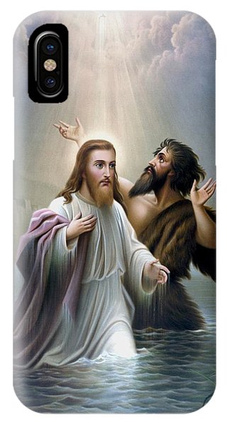 Savior iPhone Case - John The Baptist Baptizes Jesus Christ by War Is Hell Store