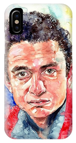 I Love You iPhone Case - Johnny Cash Portrait by Suzann Sines