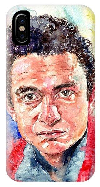 Guitar Legends iPhone Case - Johnny Cash Portrait by Suzann's Art