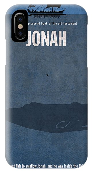 Whales iPhone Case - Jonah Books Of The Bible Series Old Testament Minimal Poster Art Number 32 by Design Turnpike