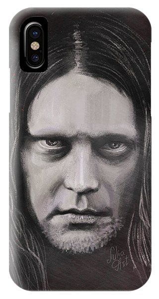 IPhone Case featuring the drawing Jonas P Renkse Musician From Katatonia Band By Julia Art by Julia Art