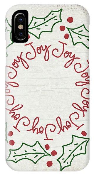 Joy Holly Wreath- Art By Linda Woods IPhone Case