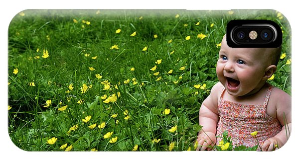Joyful Baby In Flowers IPhone Case