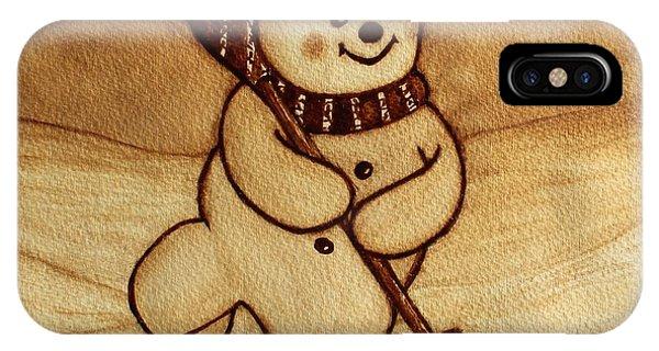 Joyful Snowman  Coffee Paintings IPhone Case