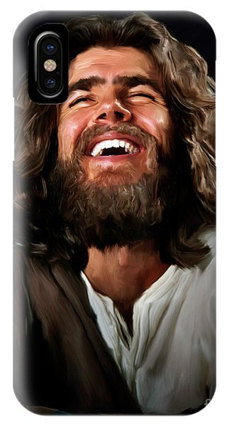 Laughing Jesus iPhone Case - Joyous Jesus by Deb Minnard