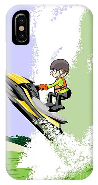 Jet Ski iPhone Case - Jumping Boldly Among The Giant Waves In A Yellow Jet Ski by Daniel Ghioldi
