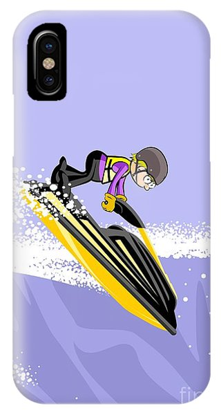Jet Ski iPhone Case - Jumping On The Waves In A Yellow Jet Ski by Daniel Ghioldi